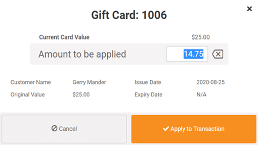 Pay for POS transactions using gift cards