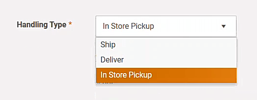 Selecting order delivery, shipment, pick-up