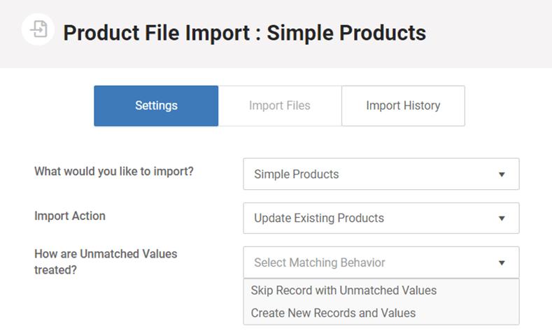 Product import via CSV file