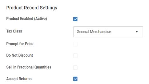 Product settings in MicroBiz Cloud