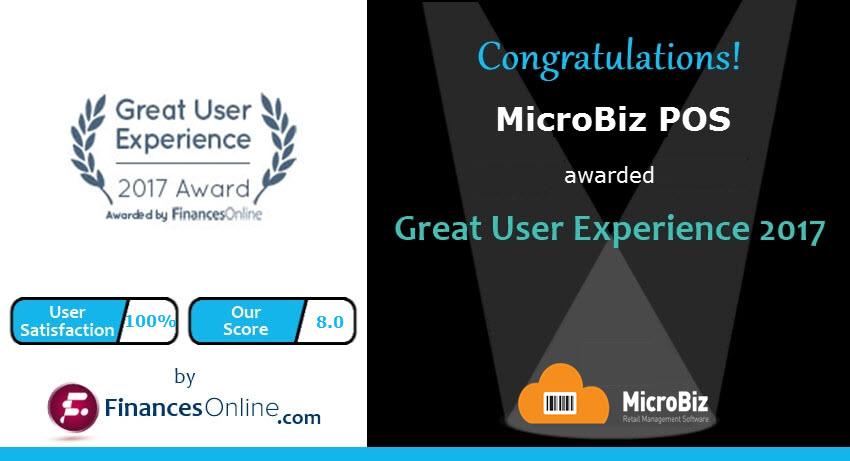 MicroBiz Wins 2017 Great User Experience Award from FinancesOnline!